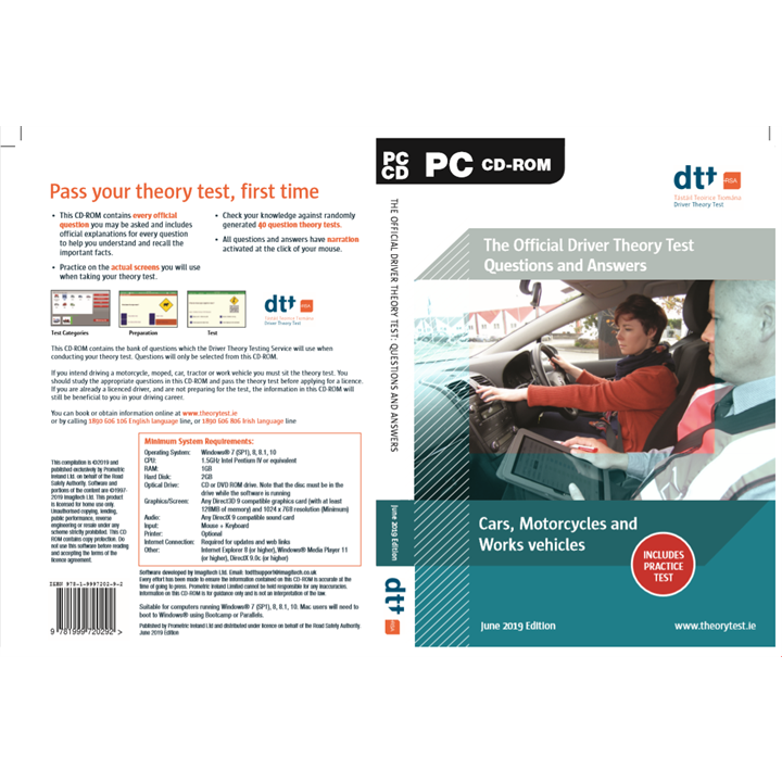 English Language - Official Driver Theory Test Questions and Answers Motorcycles, Cars and Works Vehicles - CDROM  - June 2019 Edition