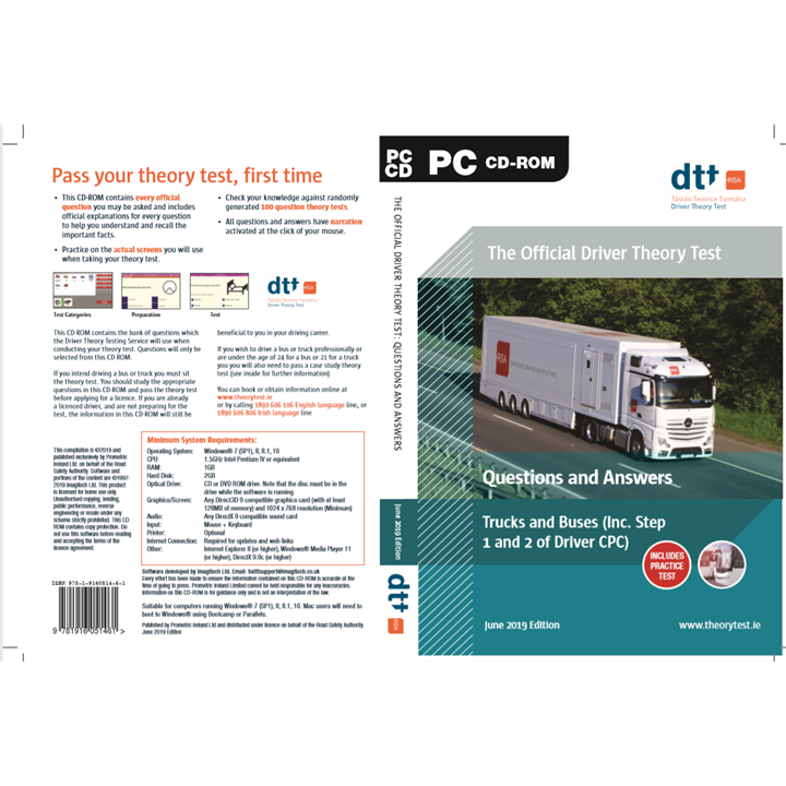 Official Driver Theory Test Questions and Answers, Truck & Buses CDROM (Including Step 1 and Step 2 of Driver CPC) June 2019 Edition